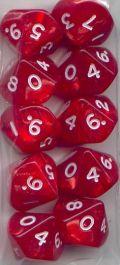 WOD DOBÓKOCKAKÉSZLET gyöngyház piros / WOD DICE SET Pearl Red (10)