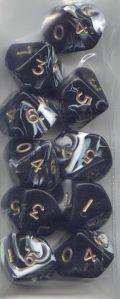 WOD DOBÓKOCKAKÉSZLET márvány fekete, bőr szütyőben / WOD DICE SET Marble Black in a Leather Pouch (1
