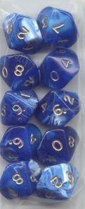 WOD DOBÓKOCKAKÉSZLET márvány kék, bőr szütyőben / WOD DICE SET Marble Blue in a Leather Pouch (10)