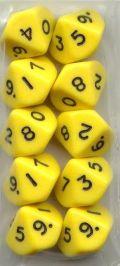 WOD DOBÓKOCKAKÉSZLET tömör sárga / WOD DICE SET Solid Yellow (10)