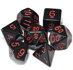 D&D DOBÓKOCKAKÉSZLET tömör fekete piros számmal / DICE SET Solid Black with Red Numbers (7)