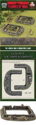 15mm WW2 Defences - Gun Pits - Log Emplacements (2x2)