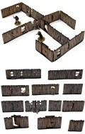 28mm WW2 Scenery - Pre-Painted Yard Fencing with Gates