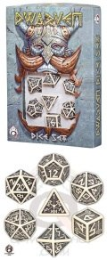 Dwarven - Beige & Black Dice Set (7)
