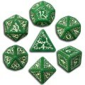 Elven - Green & White Dice Set (7)