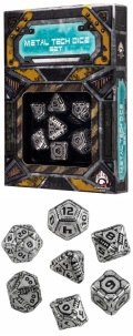 Tech - Metal & Black Dice Set (7)