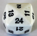 24 OLDALÚ DOBÓKOCKA tömör fehér / 24 SIDED DICE Solid White