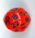 30 OLDALÚ DOBÓKOCKA tömör narancs fekete számokkal / 30 SIDED DICE Solid Orange w/Black