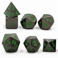 D&D DOBÓKOCKAKÉSZLET / Metal Dice Set Nickel with Green (7)