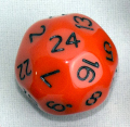 24 OLDALÚ DOBÓKOCKA tömör narancs fekete számokkal / 24 SIDED DICE Solid Orange w/Black
