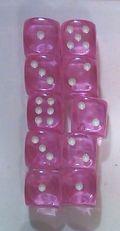 10d6 pöttyös átlátszó rózsaszín 14 mm / 10d6 Spot Gem Pink 14mm