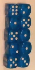 10d6 pöttyös átlátszó kék 14 mm / 10d6 Spot Gem Blue 14mm