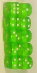 10d6 pöttyös átlátszó világoszöld 14 mm / 10d6 Spot Gem Light Green 14mm