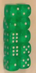10d6 pöttyös átlátszó zöld 14 mm / 10d6 Spot Gem Green 14mm