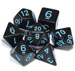D&D DOBÓKOCKAKÉSZLET tömör fekete kék számmal / DICE SET Solid Black w/ Blue numbers (7)
