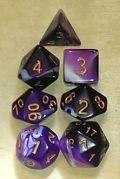 D&D DOBÓKOCKAKÉSZLET lila-fehér / DICE SET Dual Color Purple/White (7)