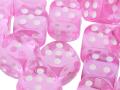 10d6 pöttyös átlátszó rózsaszín / 10d6 Spot Gem Pink 16mm