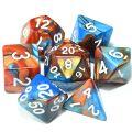 D&D DOBÓKOCKAKÉSZLET gyöngyház kék-arany / DICE SET Dual Color Pearl Blue/Gold (7)