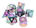 D&D DOBÓKOCKAKÉSZLET FÉM szivárvány / METAL DICE SET Rainbow w/ White Numbers (7)