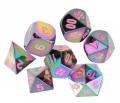 D&D DOBÓKOCKAKÉSZLET FÉM szivárvány / METAL DICE SET Rainbow w/ Pink Numbers (7)