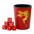 DOBÓPOHÁR / DICE CUP - Red with Dragon Emblem