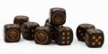 10d6 pöttyös Orc kávészín arany számmal / 10d6 Spot Orc Coffee w/ Gold