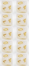WOD DOBÓKOCKAKÉSZLET gyöngyház fehér arany számokkal / WOD DICE SET Pearl White w/ Golden Numbers(10