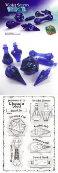 Wizard Dice Set - Violet Storm / Lightning (7)