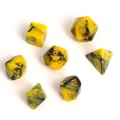 D&D DOBÓKOCKAKÉSZLET MINI Fairy sárga/fekete / FAIRY DICE SET MINI Dual Color Yellow/Black (7)