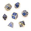 D&D DOBÓKOCKAKÉSZLET FÉM keretes arany kékkel / METAL DICE SET Framed Gold with Blue (7)