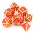 D&D DOBÓKOCKAKÉSZLET FÉM keretes arany pirossal / METAL DICE SET Framed Gold with Red (7)