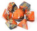 D&D DOBÓKOCKAKÉSZLET gyöngyház narancs-ezüst / DICE SET Dual Color Pearl Orange/Silver w/ Golden Num