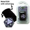 20 OLDALÚ FÉM DOBÓKOCKA lila / D20 Metal with Velvet Bag - Purple