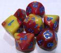 D&D DOBÓKOCKAKÉSZLET bordó-sárga kék számmal / DICE SET Dual Color Red/Yellow with Blue Numbers (7)