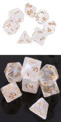 D&D DOBÓKOCKAKÉSZLET átlátszó - fehér arany számmal / DICE SET Dual Color Gem White w/ Golden Number