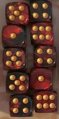10d6 pöttyös gyöngyház vörös-fekete / 10d6 Spot Dual Color Pearl Crimson/Black