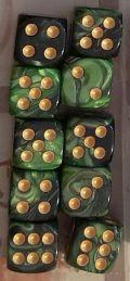 10d6 pöttyös gyöngyház zöld-fekete / 10d6 Spot Dual Color Pearl Green/Black